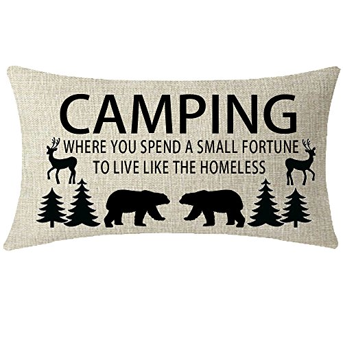 ITFRO Nice with Funny Camping Words Bears Deers Pine Trees Home Couch Sofa Decorative Cotton Linen Waist Lumbar Throw Pillow Case Cushion Cover Oblong 12x20 inches