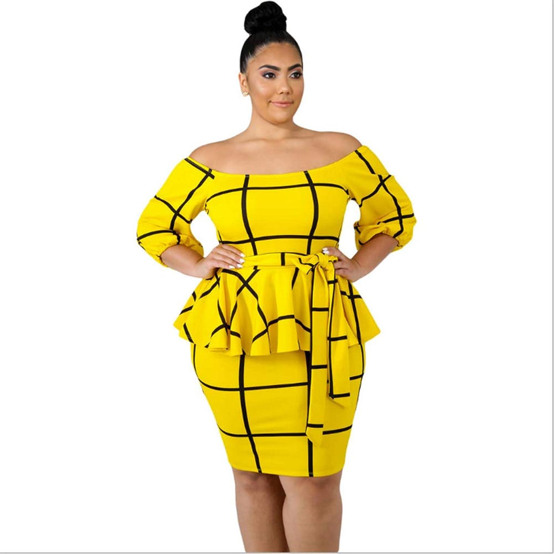 Women's Party Birthday Basic Bodycon Dress  Striped Ruffle High Waist Summer Black Yellow XXXL XXXXL XXXXXL Sexy,2,4XL