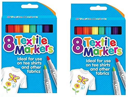 Pack of 16 Quality Colored Fabric Markers T Shirt Pens Fabric Pens Marker Pen Textile Markers 4.8mm Bullet Tips (16)