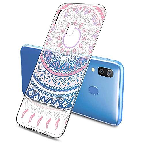 Oihxse Color Gradiente Funda Compatible con Huawei Nova 3, Transparente Silicona Ultra Delgado Anti-rasguños Protector Case, Circulo Puntilla Flor Diseño TPU Cover