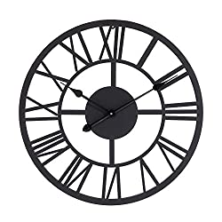 Lechesis Dark Brown Metal Wall Clock - 22 European Retro Decor Clock with Large Roman Numerals - Soundless Battery Operated Analog Metal Decorative Wall Clock