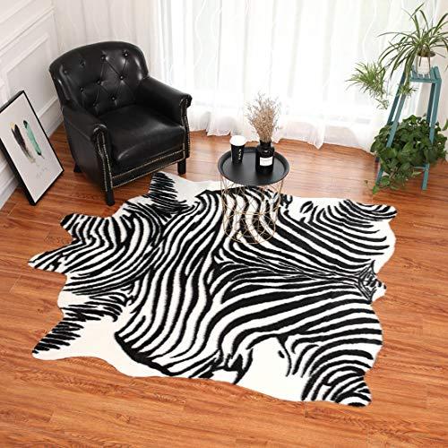 Takmeway Zebra Impreso de alfombras de Cuero de imitación Forma alfombras de Cuero Pieles de Animales Natural Alfombras Decoración Mats,165 * 210cm