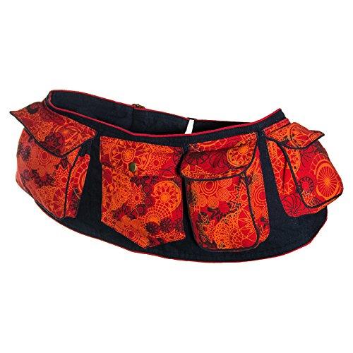 KUNST UND MAGIE Goa Gürteltasche mit Mandala Motiven, Farbe:Rot/Orange