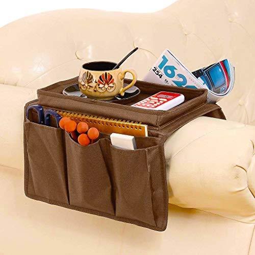 Couch Sofa Armrest Organizer With Tray Armchair Caddy Couch Caddy Arm Rest Organiser TV Remote Holder Sofa Space Saver Hanging Bag for Phone,Magazine,Snack,Glasses