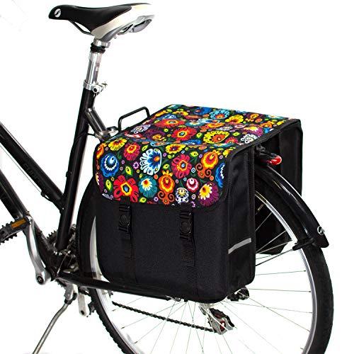 BikyBag Clásica - Doble Alforjas para Bicicletas (Flores folclóricas)