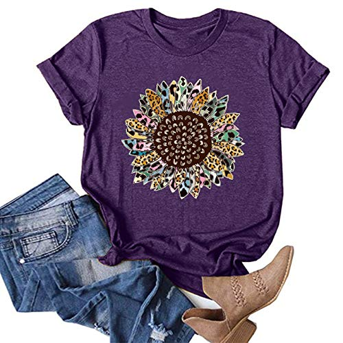 Women's Short Sleeve Graphic Tshirt Whycat Vintage Leopard Sunflower Seeds Pattern Print Tops Cute Tees Inspirational Gifts(Purple,L)