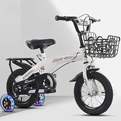Bicicleta para niños, niñas, niños, Bicicletas Estilo BMX, 12 14 16 18 Pulgadas con Ruedas de Entrenamiento, 18 Pulgadas con Soporte Bicicletas para niños, Soporte,Blanco,16INCH