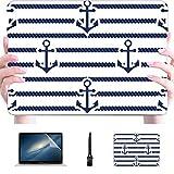 Mac Pro Case Set Sea Nautical Seamless Patterns Ilustración Plastic Hard Shell Compatible Mac Macbook Pro 2018 Accesorios Accesorios de protección para Macbook con Alfombrilla de ratón