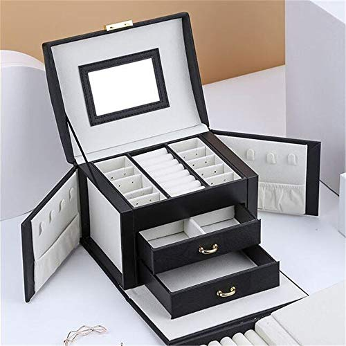 Preisvergleich Produktbild JLYLY Schmuck-Box Aufbewahrungsbox mit 2 Schubladen DREI-Schicht PU-Leder Schmuck Storage Box mit Spiegel und Mädchen und Dame Gift mit Schloss, Upgraded Version Black