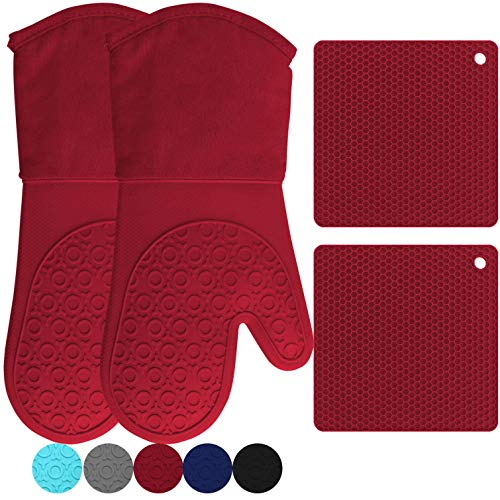 HOMWE Silicone Oven Mitts and Pot Holders, 4-Piece Set, Heavy Duty...