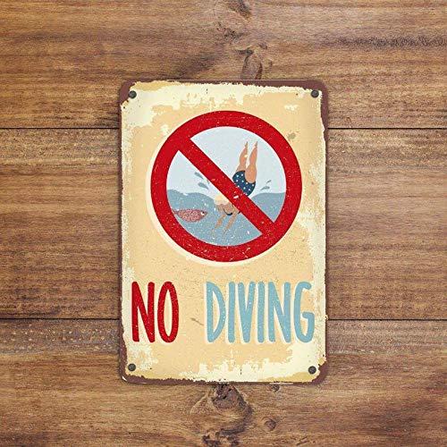 Zor345damilla No Diving Schild Pool Schild Vintage Stil Schild Schwimmbad Schild Teich Deko Teich Warnschild Achtung Schild Swimming is Prohibited Schild