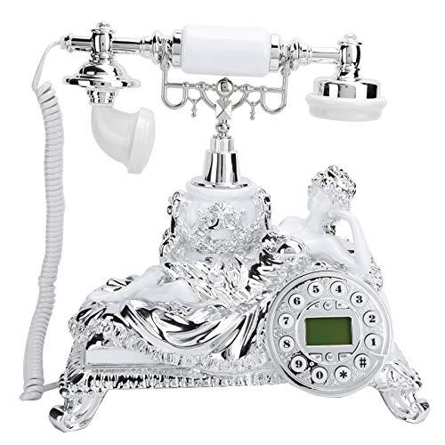 Vbestlife Teléfono Retro, teléfono Antiguo con Cable de línea Fija de Estilo Vintage Europeo para decoración del hogar, Soporte para Pantalla de identificación de Llamadas FSK y DTMF