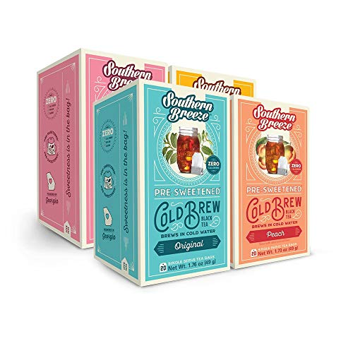 Southern Breeze Cold Brew Tea, Variety Pack Sweet Tea with Zero Calorie, 20 Count (80 tea bags total), 4 Count