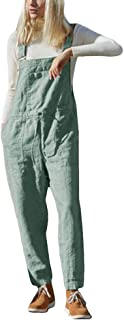 ORANDESIGNE Latzhose Beil/äufig Damen Jumpsuits Bib Hose Leinen Casual Loose Training Langarm Overall Rompers Lange Wide Leg Hosen mit Tasche