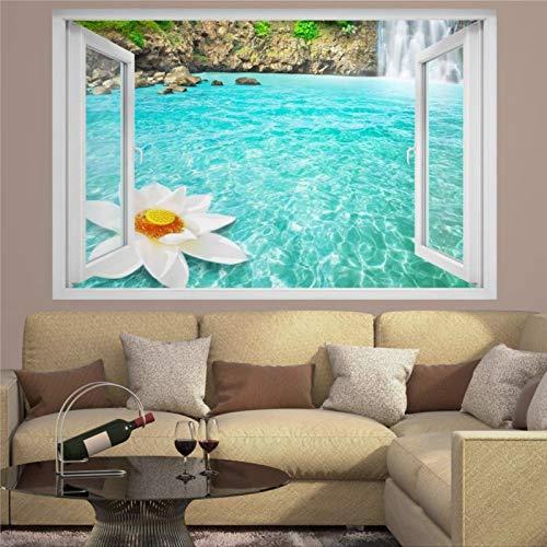 Mural de pared con diseño de flor de loto gigante de cascada azul en 3D destrozada, creativo, extraíble, para dormitorio, sala de estar, sala de juegos, guardería, oficina y tienda