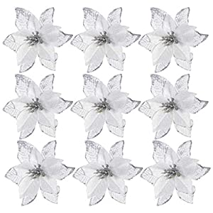 NUOBESTY Glitter Poinsettia Christmas Tree Ornaments Artificial Christmas Poinsettia Flowers for Xmas Tree Wreaths Decor, 24 Pieces (Silver)