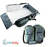 Travel Portable Bassinet Diaper Bag - 3 in 1 Portable Changing Station, Travel Crib, Diaper Bag | Bonus Stroller Attachment | Perfect Travel Bassinets for Babies & Travel Accessory
