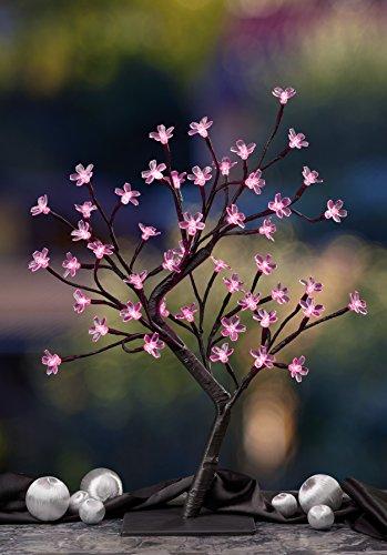 Hellum 300369 LED-Baum mit Pinkfarbenden Kirschblüten, 45 cm, LED Pink, 48-teilig, Braun