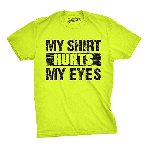 Crazy Dog Tshirts - Mens My Shirt Hurts My Eyes Funny Bright Neon Hilarious Colorful Neon T Shirt - Camiseta Divertidas