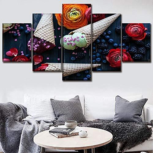 MWMMWLH Leinwanddrucke 5 Stück EIS Blaubeer Rose Essen Poster Moderne Küche Modulare Wohnkultur Wandkunst (Kein Rahmen) Größe C