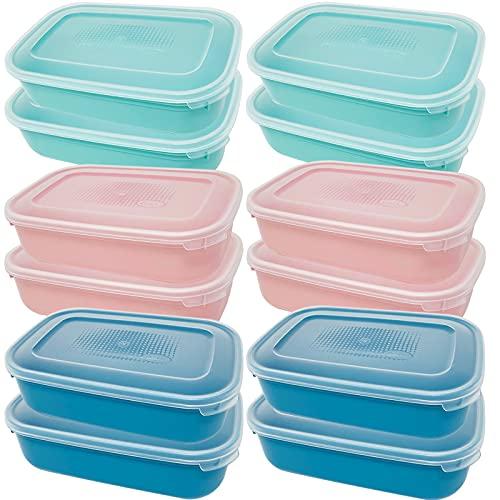 Codil Juegos Tupper de Plásticos para Alimentos,Tapers Rectangular Reutilizables para Comida Sin BPA,Recipientes con Tapa,Apto para Microondas Lavavajillas y Congelador(Rosa Verde y Azul, 12 x 0.8L)