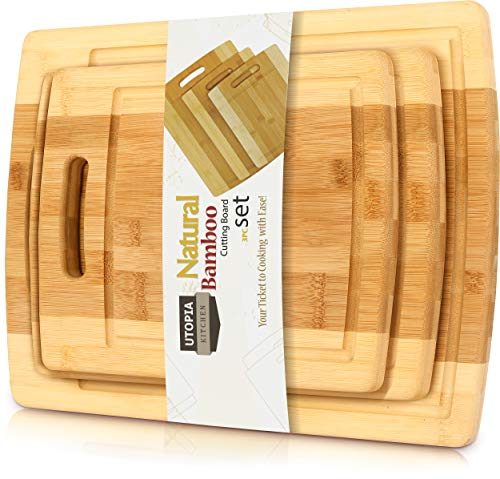 Utopia Kitchen 3 Piece Natural Organic Bamboo Cutting ...