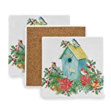 AGONA Absorbent Drink Coasters Winter Birdhouse Red Cardinal Birds Christmas Coasters for Drink Ceramic Stone Coasters with Cork Backing Prevent Furniture from Scratched Square Bar Coasters Set of 4