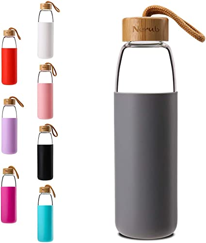 discount NERUB 18 to 22 OZ BPA FREE popular Borosilicate Thick Glass Water Bottle with online sale Bamboo Lid - Dishwasher Safe outlet sale