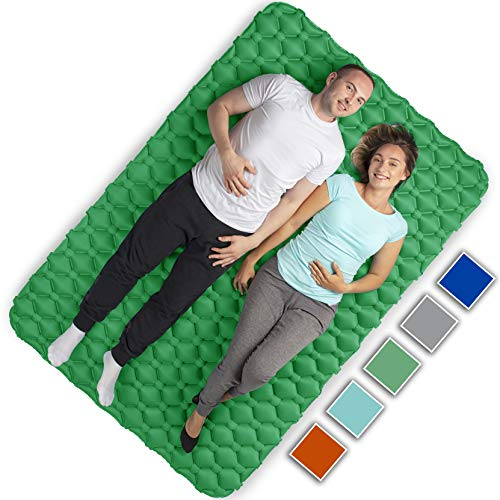 Royexe Heavy Duty Double Sleeping Pad | Ultra Thick Inflatable Camping Mat | 2 Person Compact Bed for Backpacking and Hiking | Compact Sleeping Bag Air Mattress (Green)