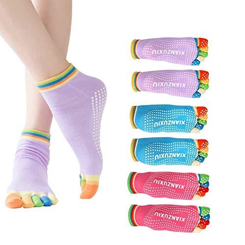 EQLEF Calze Yoga Bambina per Le Donne Antiscivolo Skid Pilates Yoga Socks Toe Grips Calze in Cotone...