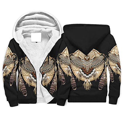 XHJQ88 Heren Full-Zipper Super Warm Fleeced Hoodies Gevoerde Vrouwen Americano Mandala Patroon Effen - Hooded Loose-Fit Jas voor Chistmas Gifts
