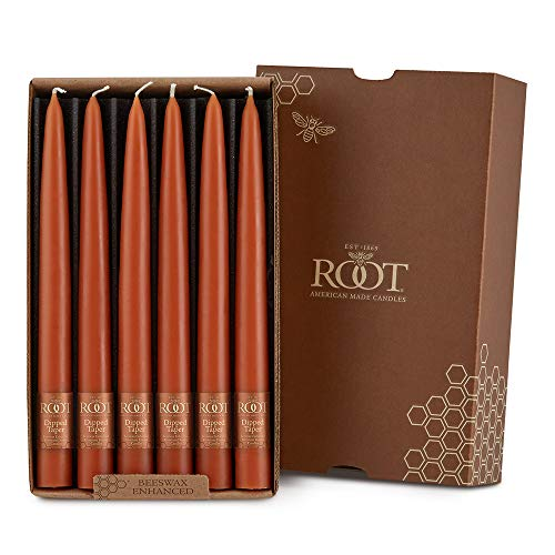 Root Candles Unscented Smooth Hand-Dipped 9-Inch Taper Candle, 12-Count, Rust