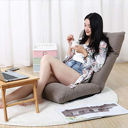 BLSTY Bodenstuhl Zaisu Tatami, Hals Unterstützung mit Verstellbarer Rückenlehne Integriertem Griff Faules Sofa für Wohnzimmer Terrasse Gaming Meditationsstuhl-Leichte Kaffeefarbe-B