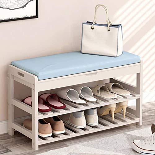 M-YN Zapatero Gabinete de Zapatos de Madera for bandejas de Almacenamiento en Rack con cojín for el Dormitorio del Pasillo 73.5 * 30 * 45 cm (Color : Blue, Size : 3 Tier)