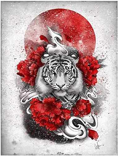 MHSHM 5D Diamantmalerei Mosaik DIY Japanische Kirschblüten Mount Fuji Tiger Vollbohrer Diamantstickerei Strass Wanddekoration Kunsthandwerk für Zuhause Geschenk Runde Bohrer 40X50Cm (16X20Inch)