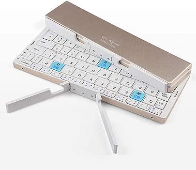 HYwot Ultra Slim Mini Faltbare Bluetooth Tastatur f r iPhone X8 X7 6S Plus  Ipad Mini Pro Air  Samsung Smartphones Gold