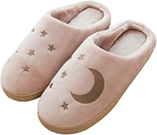 MoGist Zapatillas Algodón Pantuflas Invierno térmica Peluche Suave Zapatillas Mode Luna Estrellas Patrón Agradable Indoor Home Antideslizante Slippers, Hellbraun, 39-40, 39-40