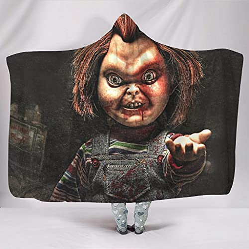 Dessionop Manta con capucha para jugar con el horror Chucky, con mi impresión, color blanco, 130 x 150 cm