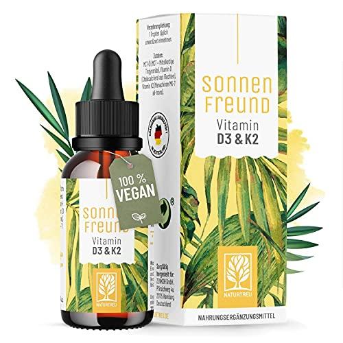 Vitamin D3 K2 Tropfen hochdosiert und vegan - 100% pflanzlich (ohne tierisches Lanolin) - 1000 IE Vitamin D vegan & Vitamin K2 - Sonnenfreund D3K2 Öl geprüft & hergestellt in Deutschland