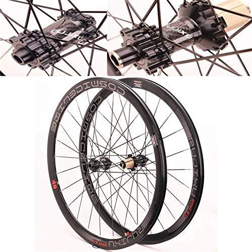 TYXTYX Ejes de liberación rápida Accesorio para Bicicleta Juego de Ruedas para Bicicleta de Carretera Llanta 700c 40 mm 12 mm Eje pasante Freno de llanta Buje de Fibra de Carbono Ruedas de biciclet