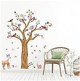 WandSticker4U®- Wandtattoo Kinderzimmer GROSSER Aquarell BAUM braun I Wandbilder: 170x145 cm I Wandaufkleber Babyzimmer Dschungel Eule Blumen Zweige Wald-tiere I Deko Wandsticker für Kinder