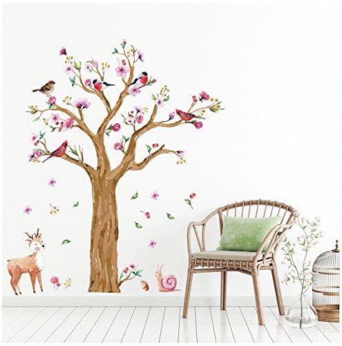 WandSticker4U- Wandtattoo Kinderzimmer GROSSER Aquarell BAUM braun | Wandbilder: 170x145 cm | Wandaufkleber Dschungel Eule Reh Schnecke Vogel Blumen Zweige Wald-tiere | Deko Babyzimmer Baby Kinder XL