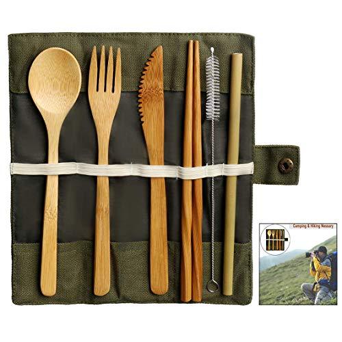 iwobi Bambou Couverts Set, Kit Couverts écologique Ustensiles de Voyage Comprenant Couteau