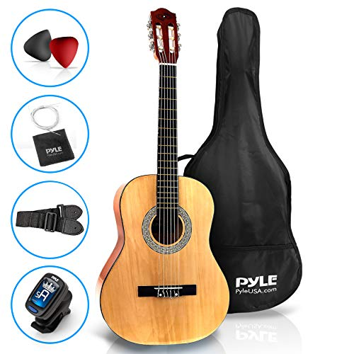 Pyle 36 Classical Acoustic Guitar-3/4 Junior Size 6 Linden Wood Guitar w/Gig Bag, Tuner, Nylon Strings, Picks, Strap, for Beginners, Adults, Right, Natural (PGACLS82)
