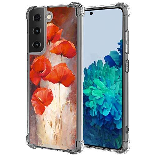 UZEUZA Funda compatible con Samsung Galaxy S21, diseño de amapola, transparente, para niñas y mujeres