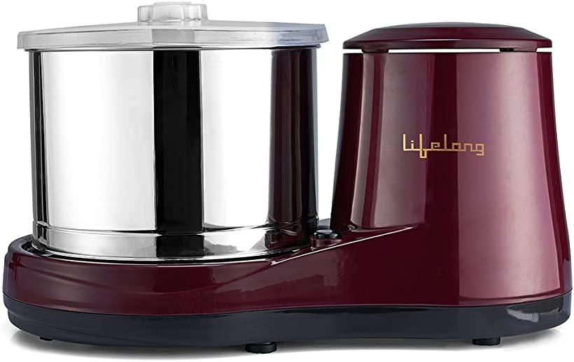 Lifelong Classic Table Top Wet Grinder 2L, 150 W with Coconut Scrapper and Atta Kneading Attachment (Red)