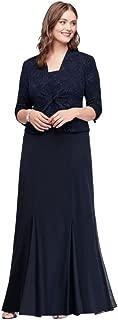Plus Size 3/4 Sleeve Long Jacquard Jacket Mother of Bride/Groom Dress Style 6525206