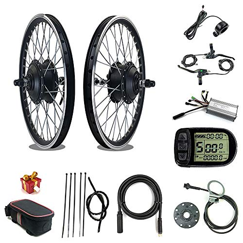 """Kit Bici elettrica RICETOO 36V / 48V 500W Motore mozzo brushless con Ruota a Raggi Anteriori 16""""20"""" 24""""26"""" 27.5""""28"""" 700C Kit di conversione Bici elettrica con KT-LCD5 (36V 500W 20inch)"""