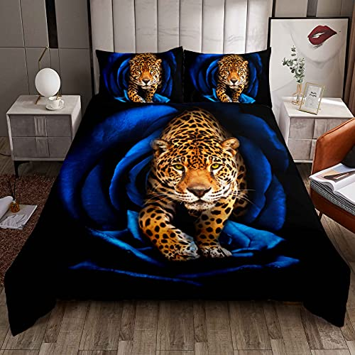 Funda de edredón de leopardo para niños, niñas, adolescentes, 3D, diseño de leopardo, estampado de animales, ropa de cama y lino, con 2 fundas de almohada, 3 piezas, cama doble