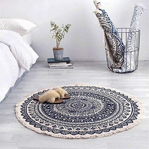 Marokko ronde tapijt slaapkamer Boho stijl kwast katoen tapijt hand geweven nationale klassieke tapijt bank kussen Tatami vloermatten